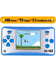 """ZHISHAN Handheld Game Console Classic Retro Video Gaming Player Portable Arcade System Birthday Gift for Kids Recreation 2.5"""" Color LCD Built in 168 Games"""