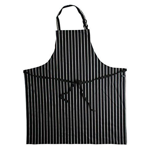 Denny's Butcher Stripe Bib Apron No Pocket Colour = Black