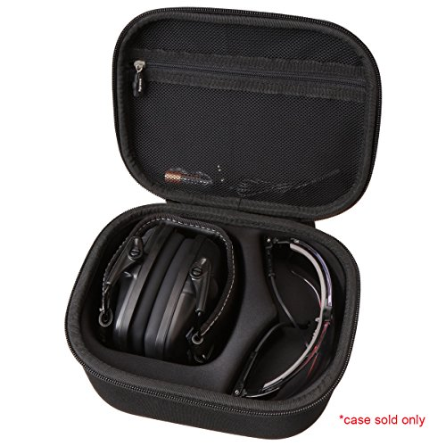Aproca Hard Storage Travel Case Compatible with Howard Leight by Honeywell Impact Sport Sound Amplification Electronic Shooting Earmuff and Genesis Sharp-Shooter Safety Eyewear Glasses(black)