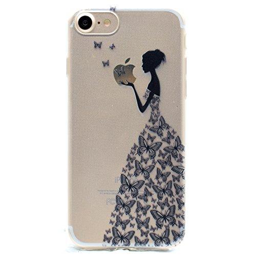 iPhone 6 6S Hülle , Leiai Modisch Schmetterlings mädchen TPU Transparent Clear Weich Tasche Schutzhülle Silikon Handyhülle Stoßdämpfende Schale Fall Case Shell für Apple iPhone 6 6S