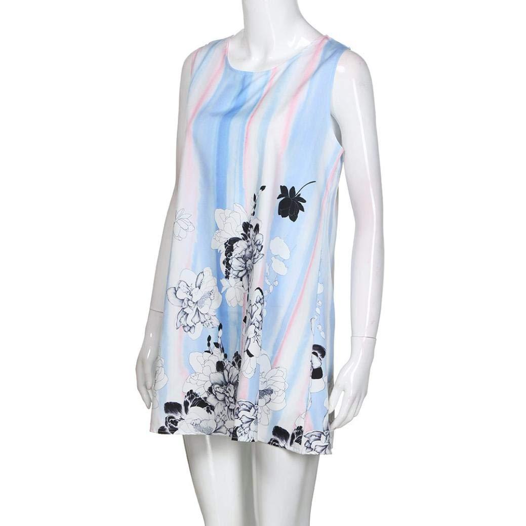UONQD 2019d Short Sleeve Round Neck Triple Color Block Stripe T-Shirt Casual Blouse(Small,e-Blue) by UONQD (Image #5)