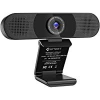 3 in 1 Webcam - eMeet C980 Pro Webcam 1080P, 2 Speakers & 4 Built-in Omnidirectional Microphones Arrays, Webcam with Microphone for Video Conferencing Streaming, Noise Reduction, Plug & Play, w/Cover