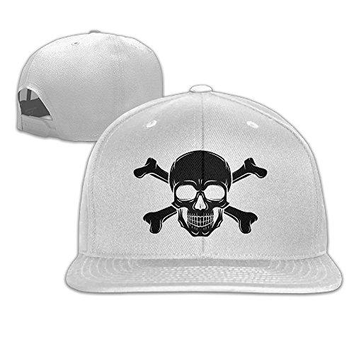 [Pirate Skull Hip Hop Flat Brim Cap Unisex Baseball Hat Funny Slogans Adjustable Snapback Cool Plain Trucker Hats For Dance,Neo-Jazz,Street Jazz,Reggea] (Pirate Tooth Cap With Skull)
