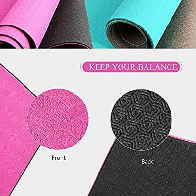 "OXA TPE Eco Premium Yoga Mat, 6mm Extra Thick 71""X 28"" Non-Slip Anti-tear Recyclable Antibacterial Mat for Workout Fitness with Carrying Strap and Yoga Belt"