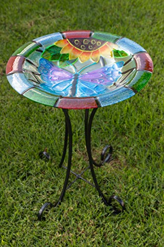 Alpine Glow in The Dark Glass Butterfly Birdbath, 18""