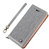 iPhone 7Plus Case iphone 8 Plus Leather Case canvas Wallet Slim Fit Folio Book Cover Flip Wallet Case With [Business Card Holder] for iPhone 8 Plus / 7 Plus (7plus/ 8plus 5.5inch, Grey1)