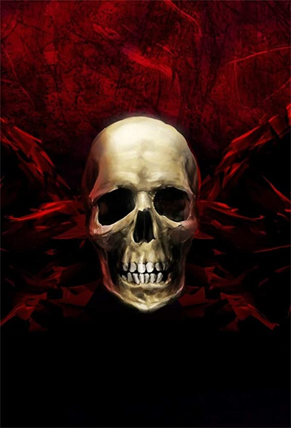 3X4FT-Halloween Building Photography Backdrops Skull Photo Studio Background