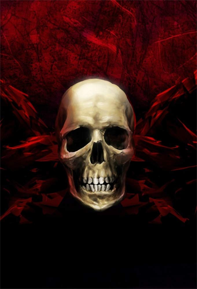 Aofoto 3x5ft Horror Skull Backdrop Vinyl Wallpaper Bloody Wall Scary Halloween Party Photography Background Kids Children Trick Or Treat Photography