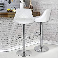 Kitchen White Counter Height Bar Stools Set of 2 PU Leather Barstools Bar Counter Stools with Back Adjustable Swivel Bar Chairs… modern barstools