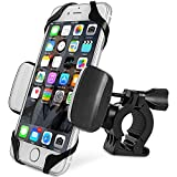 Bike Phone Mount Motorcycle Holder, Universal Cell Phone Bicycle Handlebar Cradle Holder, Adjustable 360 Rotate for iphone 6s/6plus, 7/7plus, Samsung Galaxy or any Smartphone & GPS (black)