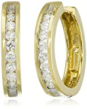 14k Yellow Gold Channel-Set Diamond Hoop Earrings (1/3 cttw, H-I Color, I1-I2 Clarity)