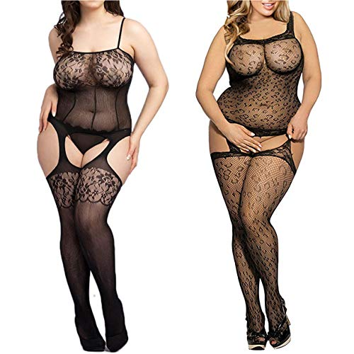 LOVELYBOBO 2 Pack Plus Size Women Sexy Crotchless Bodystockings Fishnet Bodysuits Lingerie Body Mesh Slimming Stretchy Black