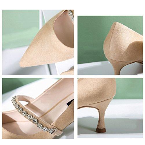 Chaussures Chaussures Stiletto Chaussures Printemps Jane Apricot Mesdames Strass Chaussures Chaussures Court Dîner 6cm Mari Talons Femmes IAqUUw5g
