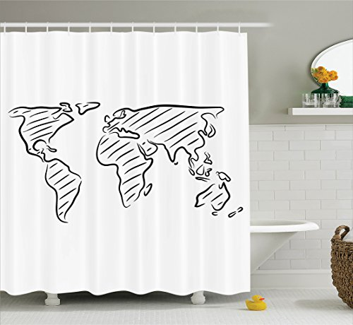 Outline Map Set - Ambesonne Wanderlust Decor Shower Curtain Set, Illustration Of An Outline Sketch Of The World Map in Drawing Effect Artwork Print, Bathroom Accessories, 69W X 70L Inches, Blackwhite