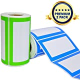 Colorful Name Tags Sicker Labels - 2 Rolls 500 Stickers in Total - 3.5 x 2' - Small Label Nametags for Jars, Bottles, Food Containers, File Folders, Party and Kids Clothes (Blue/Green 2 Pack)