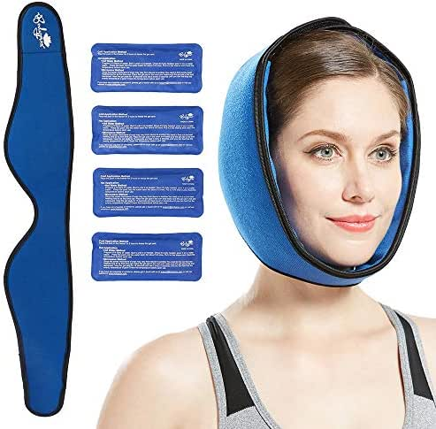 Face ice Pack for Jaw, Head and Chin, Adjustable Hot and Cold Wrap for Wisdom Teeth and TMJ Pain Relief