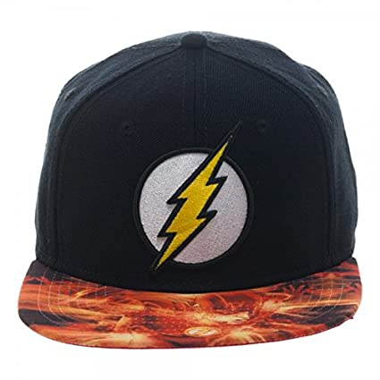 ccba0c49642 Amazon.com  DC Comics The Flash Logo with Sublimated Bill Snapback Baseball  Hat Black  Sports   Outdoors