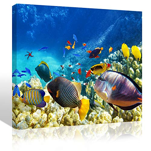Purple Verbena Art Colorful Sea Ocean Fish Canvas Print Art Picture Painting Nature Underwater World Seascape Photo Wall Art Home Decoration Gifts for Living Room Bedroom Artwork,Framed 12x16 Inches