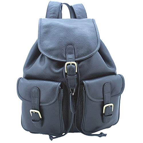 Leatherbay Leather Backpack with Pockets,Black,one -