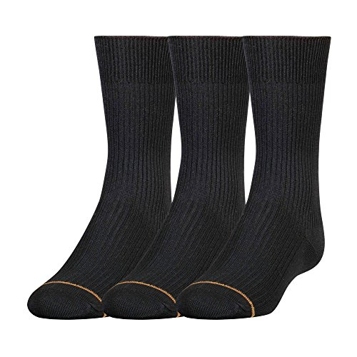 Gold Toe Big Boys'3 Pack Microfiber Dress Crew Sock, Black, (Microfiber Kids Socks)