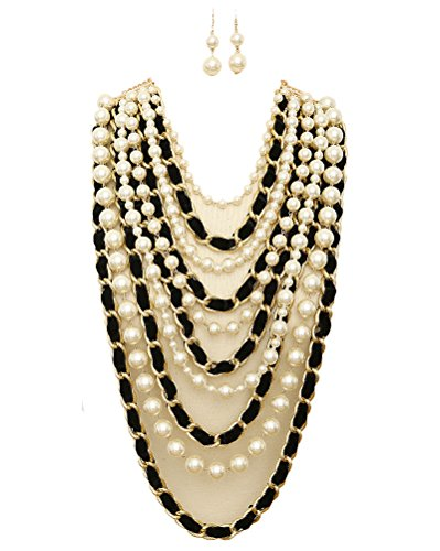 iconic luxe Anastasia Simulated Pear and Velvet Intertwined Chain Statement Necklace and Earrings - Anastasia Set Jewelry