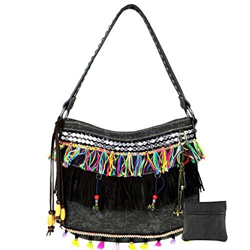 Montana West , Sac pour femme à porter à l'épaule L Black Pom Pom & Fringe