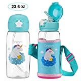 Unicorn Water Bottle with Straw for Kids, Cute Toddler Cup with Carrier Holder Shoulder Strap Leakproof BPA Free Flip Lid, Plastic Water Bottle for Boys and Girls, Child, Indoor Outdoor(23.6 oz Blue)