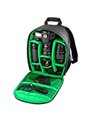 Pooqdo® For Sony Camera Backpack Bag Waterproof DSLR Case for Canon for Nikon(Green)