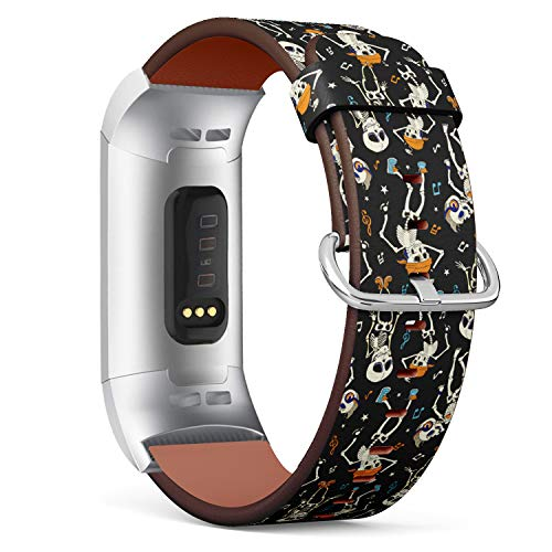 R-TECH Leather Replacement Strap Compatible with Fitbit Charge 3 - Dancing Skeletons Music Party Halloween Pattern -