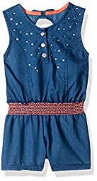 Little Lass Toddler Girls\' 1 Pc Denim Rhinestone Romper, Chambray, 4T