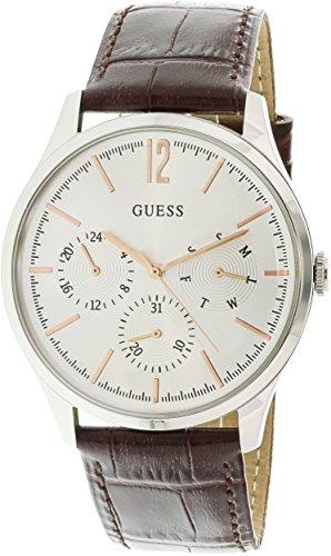 Guess-U1041G1-Silver-Leather-Japanese-Quartz-Fashion-Watch