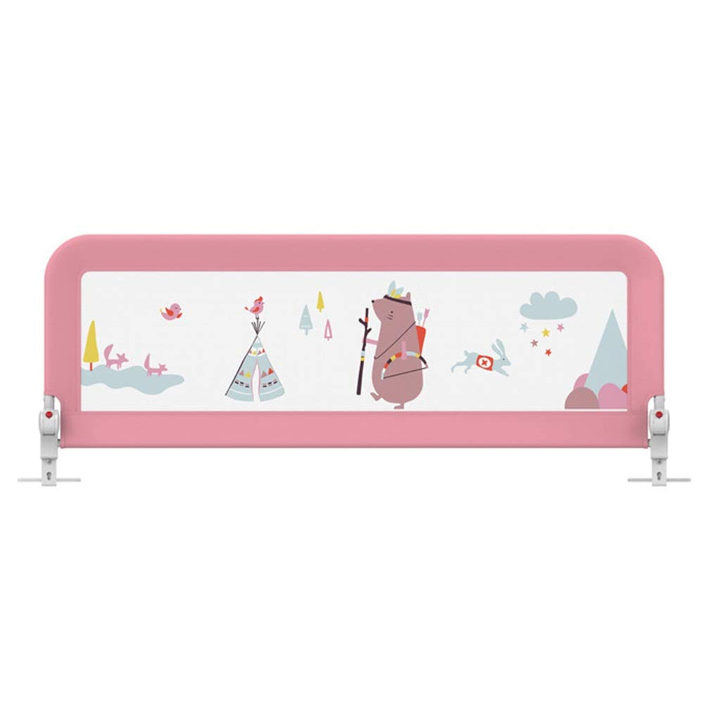 HAIYU- ベッドレール ベビー転倒防止用 ベッドフェンス 子供用 安全保護 ベッドバッフル 面白いイラスト付きの高密度メッシュクロス 03歳の赤ちゃんに適した 耐荷重25 KG 高さ調節可能 ボタン収納1つ 150/180/200cm (Color : Pink, Size : 180cm) 180cm Pink B07TXJ2K9X