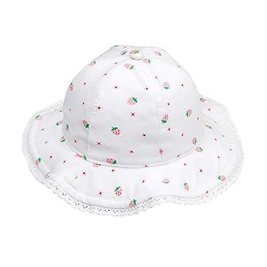 prix réduit rechercher l'original baskets Happy Cherry - Chapeau d'été Bébé Fille Garçon Coton Respirant Anti UV, Bob  de Soleil Parasol Cap Pliable Taille de Tête 44-50CM (1 Mois-3.5 Ans)