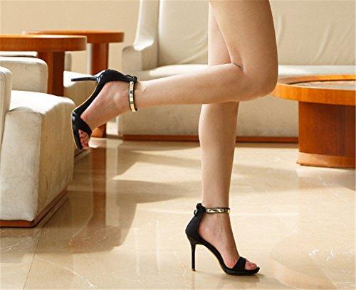 Wealsex damen sandalen sommer high heels Schwarz