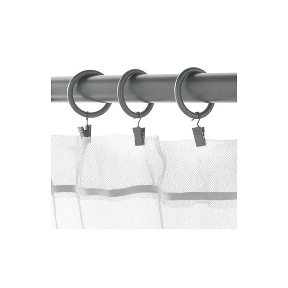 SYRLIG Premium Curtain Rings with Clips 1.5 Inch Diameter,gray Set of 20