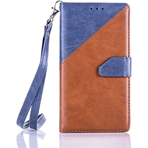 Samsung Galaxy S7 Case, YouVogue Wallet Case PU Leather Stand Case Credit Card Holder Flip Cover Skin with Secure Wrist Strap, Blue+Brown Sales