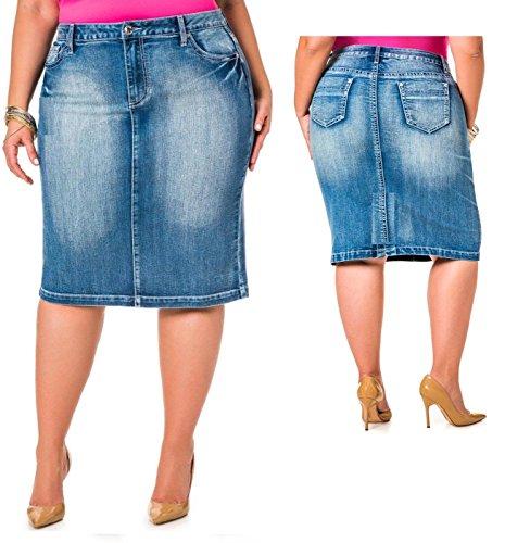 Jack David Sexy Womens Plus Size Stretch Denim Jeans Casual Twill Cotton Skirt Modern Series (3X, Blue Jean N2610)