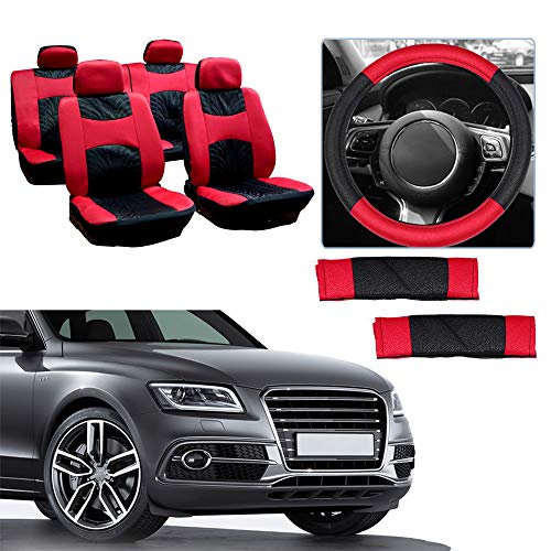cciyu Universal Car Seat Cover w/Headrest/Steering Wheel Cover/Shoulder Pads - 100% Breathable Seat Cover Washable Auto Covers Replacement fit for Most Cars(Black/Red) 1985 Oldsmobile Cutlass Supreme Brougham