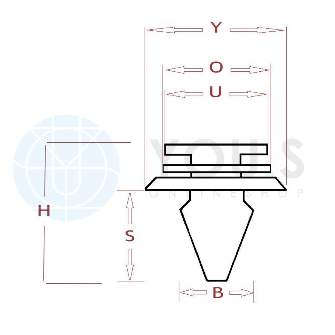 YOU.S Original LR028939 Au/ßen Verkleidung Zierleisten Clip 20 St/ück