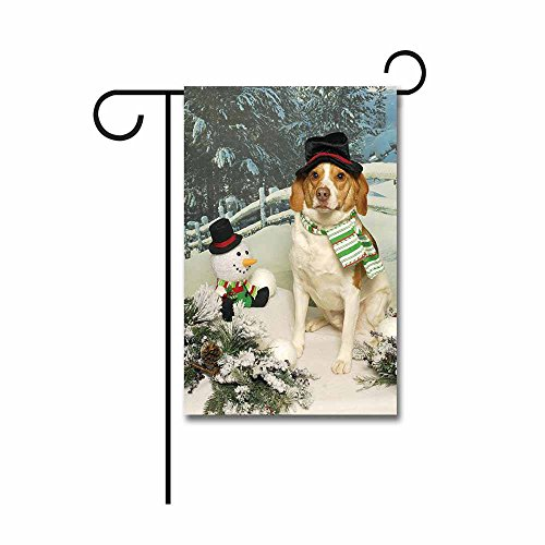 Beagle Flag (Banedy a Brown Beagle Dog Sits Imitating the Snowman Garden Flag 12.5