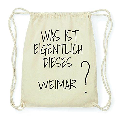 JOllify WEIMAR Hipster Turnbeutel Tasche Rucksack aus Baumwolle - Farbe: natur Design: Was ist eigentlich BLEyo0Unu