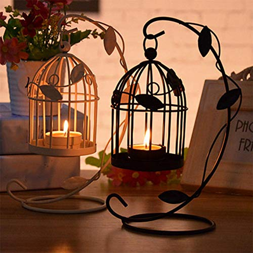 QINYUN Mental Candle Holder Centerpiece,Hollow Out Hanging Candlestick Lantern for Party Wedding Home Decorations (2 Pcs Black) by QINYUN (Image #1)