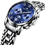 Mens Stainless Steel Chronograph Watches Men Luxury Waterproof Sports Date Analogue Blue Dial Wrist Watch