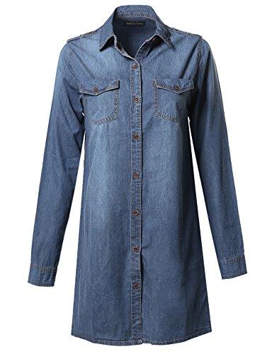 Denim Loose Fit Button Up Chest Pockets Dress Shirts Dark Blue L