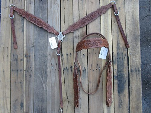 WESTERN HEADSTALL BREAST COLLAR SET SHOW FLORAL TOOLED LEATHER BARREL HORSE BRIDLE TRAIL PLEASURE