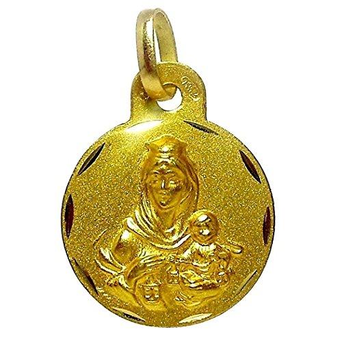 Médaille pendentif Scapulaire or 18k Virgen del Carmen Coeur de Jésus [4800]