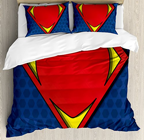 Superhero Queen Size Duvet Cover Set by Ambesonne, My Super Man Shield Logo with Heart Figure Valantines Romance Print, Decorative 3 Piece Bedding Set with 2 Pillow Shams, Night Blue Red Yellow (Valantines Gift)