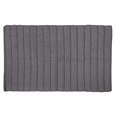 DII Oceanique Machine Washable 100% Cotton Woven Ribbed Luxury Spa Bath Rug, Soft & Absorbent, Place Near Vanity, Bath Tub or Shower, 17 x 24 ,  Gray