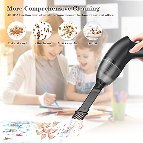 HONKYOB 4.3Kpa Keyboard Cleaner Mini Vacuum USB Rechargeable Vacuum Desk Vacuum Cleaner with LED Light for Cleaning Dust,Hair,Crumbs,Car,Pet House