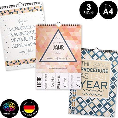 OfficeTree 3 Bastelkalender zum Selbstgestalten im Geometrischen Design – Kalender DIY in Din A4 – Immerwährender Kalender zum Selbstgestalten – Blanko Kalender zum Aufhängen